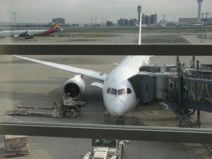 羽田空港で搭乗した飛行機