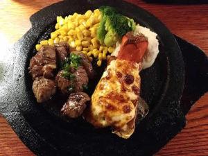ロブスターの黄金焼き &カットステーキ