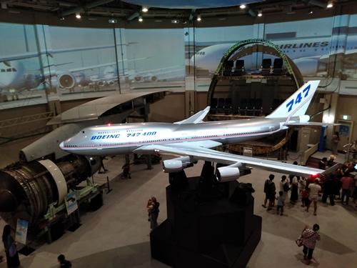 航空科学博物館の内部(B747-400の上部)
