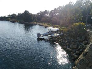 墜落した複葉機の飛行機